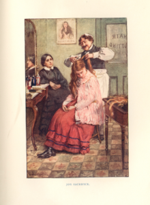 Fig.6. An illustration by Copping depicting the independent character of Jo, cutting her hair in order to provide for her family.