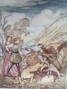 Fig. 4. So Valiantly Did they Grapple with Him that they Bore Him to the Ground from Arthur Rackham in The Allies' Fairy Book (London: Heinemann; Philadelphia: Lippincott, 1916; print; facing 68).