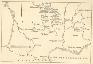 Map of areas where Nancy was during the Resistance Movement and fighting with the SOE