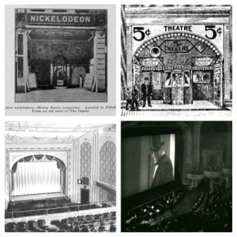 First Row: Nickelodeon theatres, 1910s. Second Row: Upper-class Movie palaces.