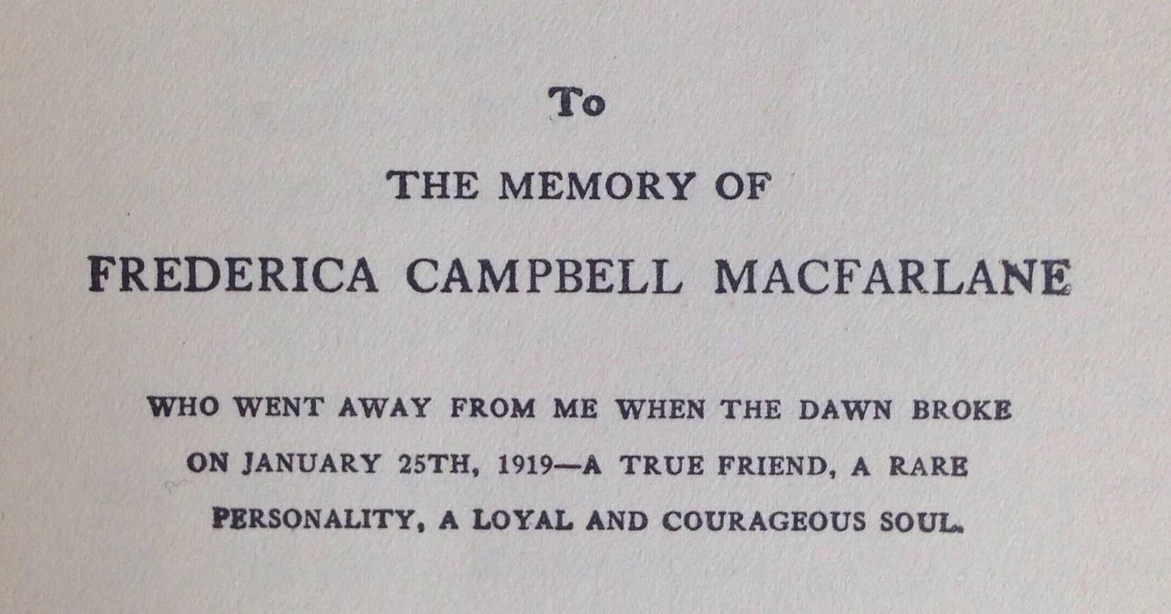 Dedication to Frede Campbell