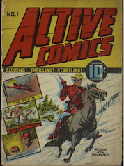 Tri-coloured cover (yellow, blue, green) Active Comics No. 1