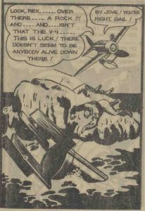 Panel from Rex Baxter featuring Gail spotting Hitler's wrecked plane.