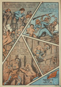 Panel depicting Dart's fight against the Natives