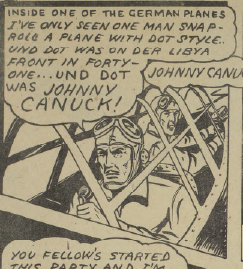 German soldier recognizes Johnny Canuck.