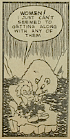 "One panel from ""Jinx"" depicting the strange disproportional illustrations of the character"