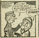 "One panel from ""Private Stuff"" depicting how the character is illustrated with his tongue sticking out"