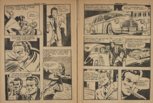 "Two page sequence of a chase scene from the Commando Comics feature ""The Young Commandos"""