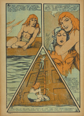 Dart is draw in a page containing three triangle panels. In panel one, Dart sits shirtless on his boat staring into panel two. In panel two Dart holds onto his lover while staring at the viewer. In panel three Dart holds his lover while knelling before a latter leading to a ship.