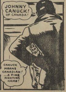 "Bachle, Leo. Panel from""Johnny Canuck."" Dime Comics. No. 22, April 1945, Bell Features Collection, Library and Archives Canada."