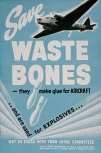 Canadian War Museum. From a Poster. Save Waste Bones -They Make Glue For Aircraft .. And Are Used For Explosives... Public Domain.