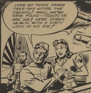 "Dingle, Adrian. Panel from""Chapt-Nine Conclusion: Rex Baxter and Xalanta's Secret."" Dime Comics. No. 22, April 1945, Bell Features Collection, Library and Archives Canada."
