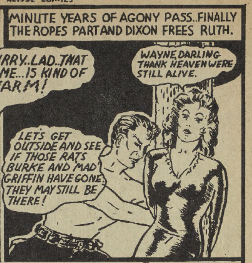 "Theodore Steele. Panel from ""Dixon of the Mounted."" Active Comics, No. 3, April 1942, Commercial Signs of Canada, p. 46. Bell Features Collection, Library and Archives Canada."