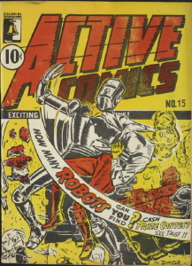 Cover, Active Comics No. 15, January 1944, Bell Features Publishing.
