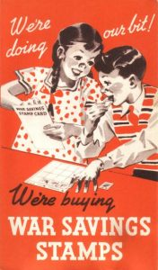 Fig. 2. Archived propagational poster from the Canadian War Savings Committee, printed in three tones (red, black, and white) utilizing the image of two children collecting war stamps to encourage the support of the war effort.
